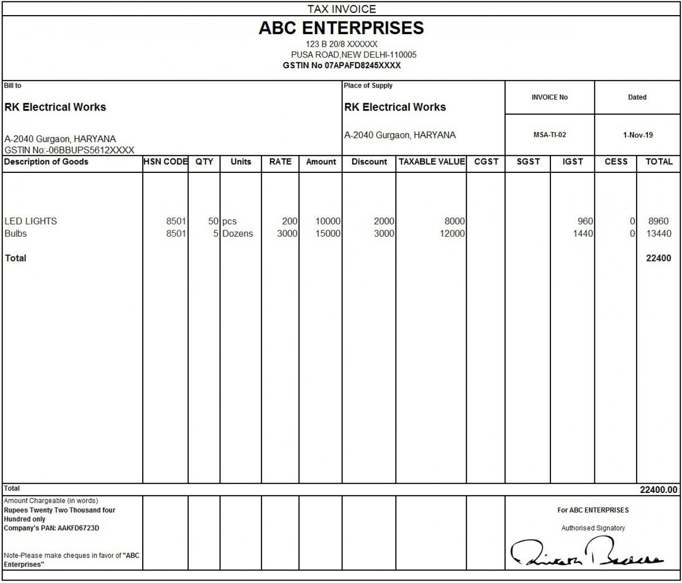 010 Outstanding Excel Invoice Template Gst Free Download Idea 1400