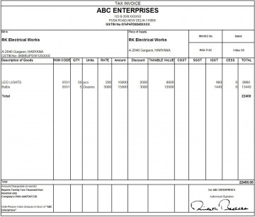 010 Outstanding Excel Invoice Template Gst Free Download Idea 360