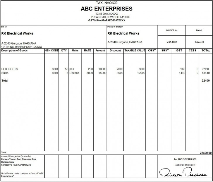 010 Outstanding Excel Invoice Template Gst Free Download Idea 728