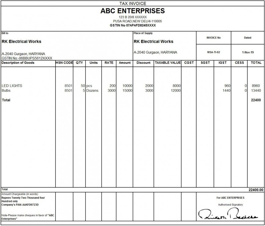 010 Outstanding Excel Invoice Template Gst Free Download Idea 868