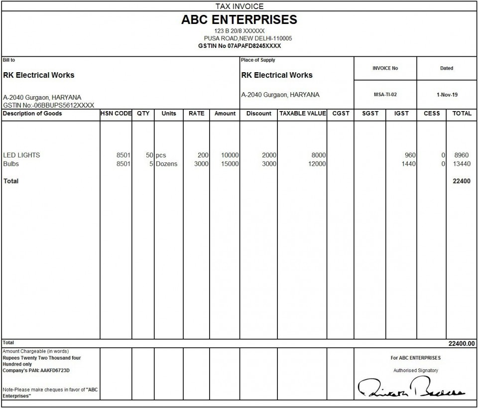 010 Outstanding Excel Invoice Template Gst Free Download Idea 960