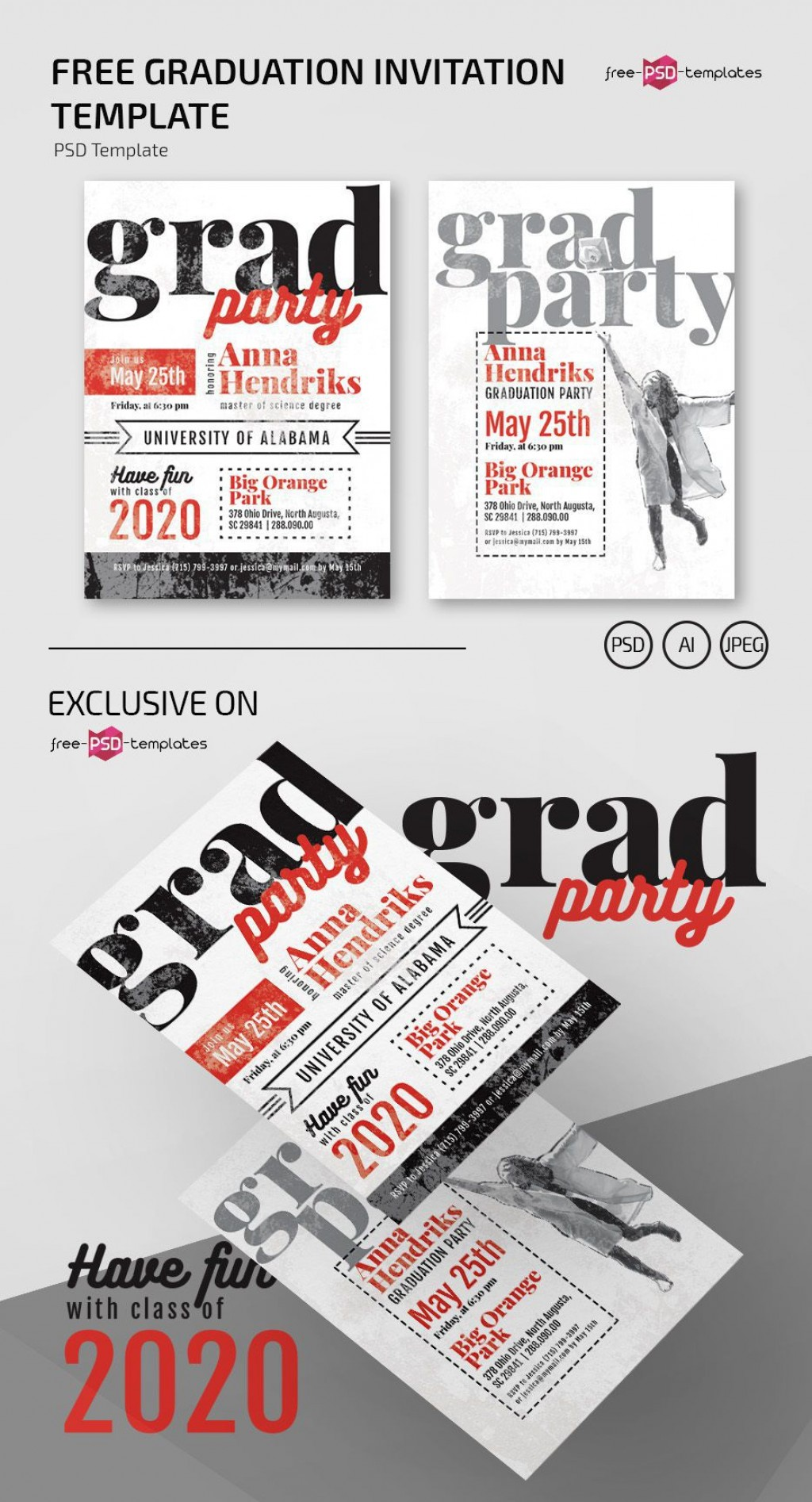 010 Outstanding Graduation Party Flyer Template Free Psd Picture Large