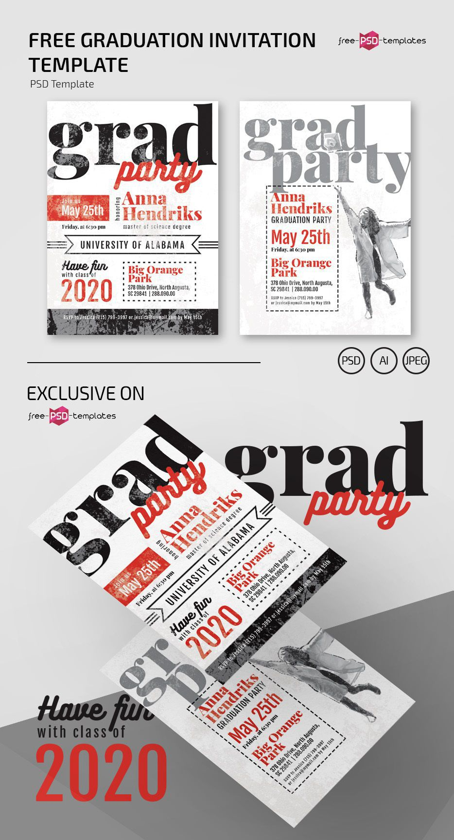 010 Outstanding Graduation Party Flyer Template Free Psd Picture Full