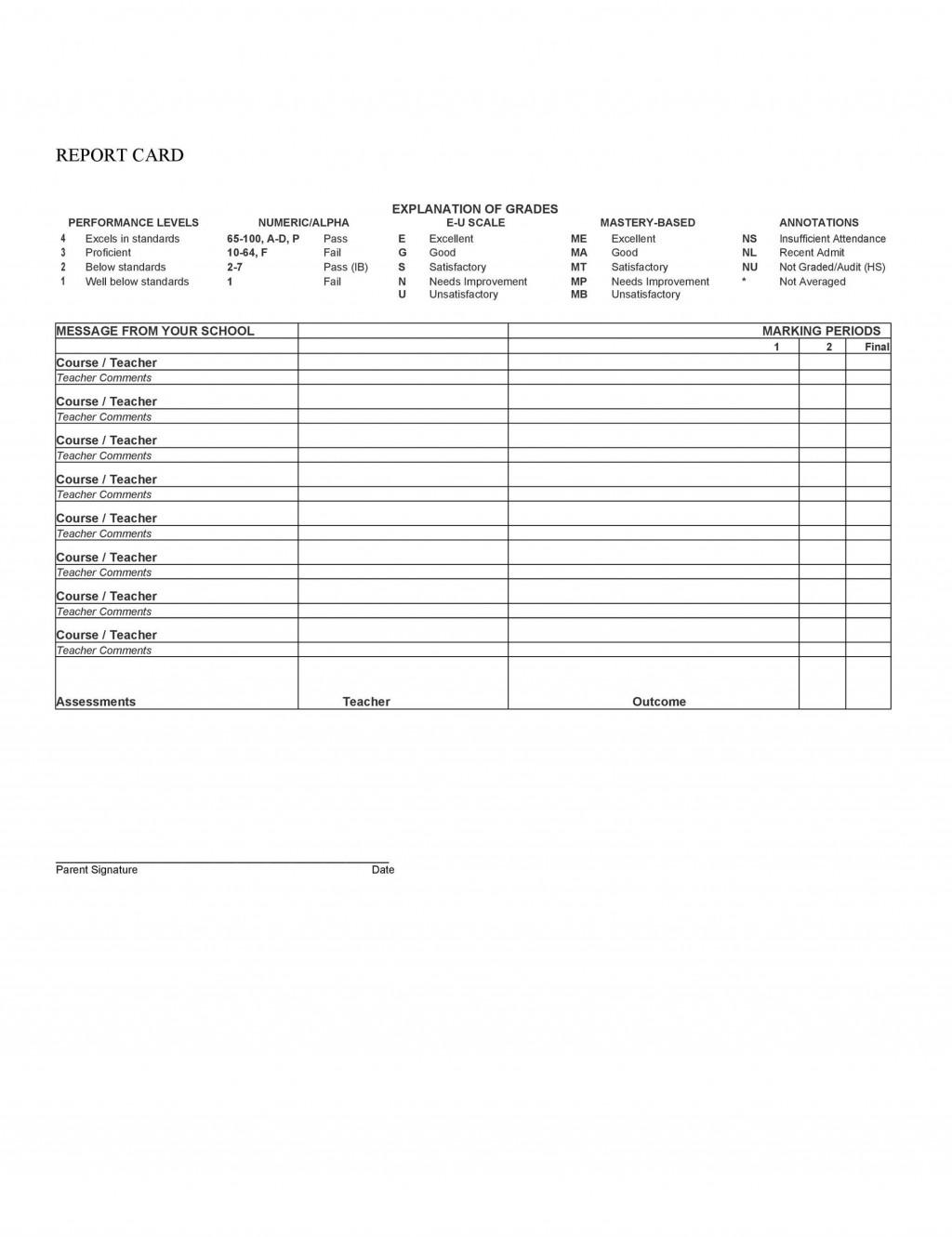 010 Phenomenal Homeschool Middle School Report Card Template Sample  8th Grade TranscriptLarge