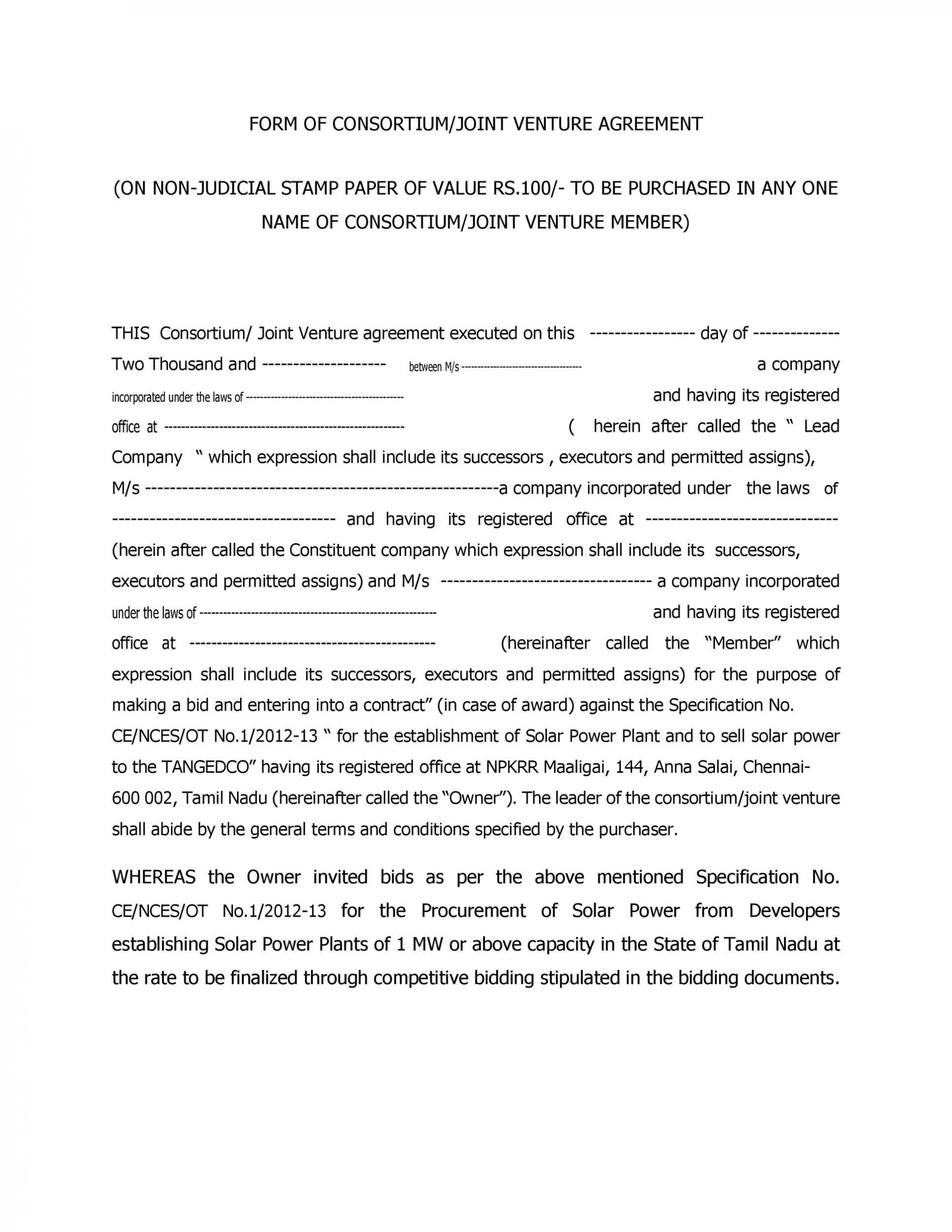 010 Phenomenal Joint Venture Agreement Template Doc Sample  Uk1920