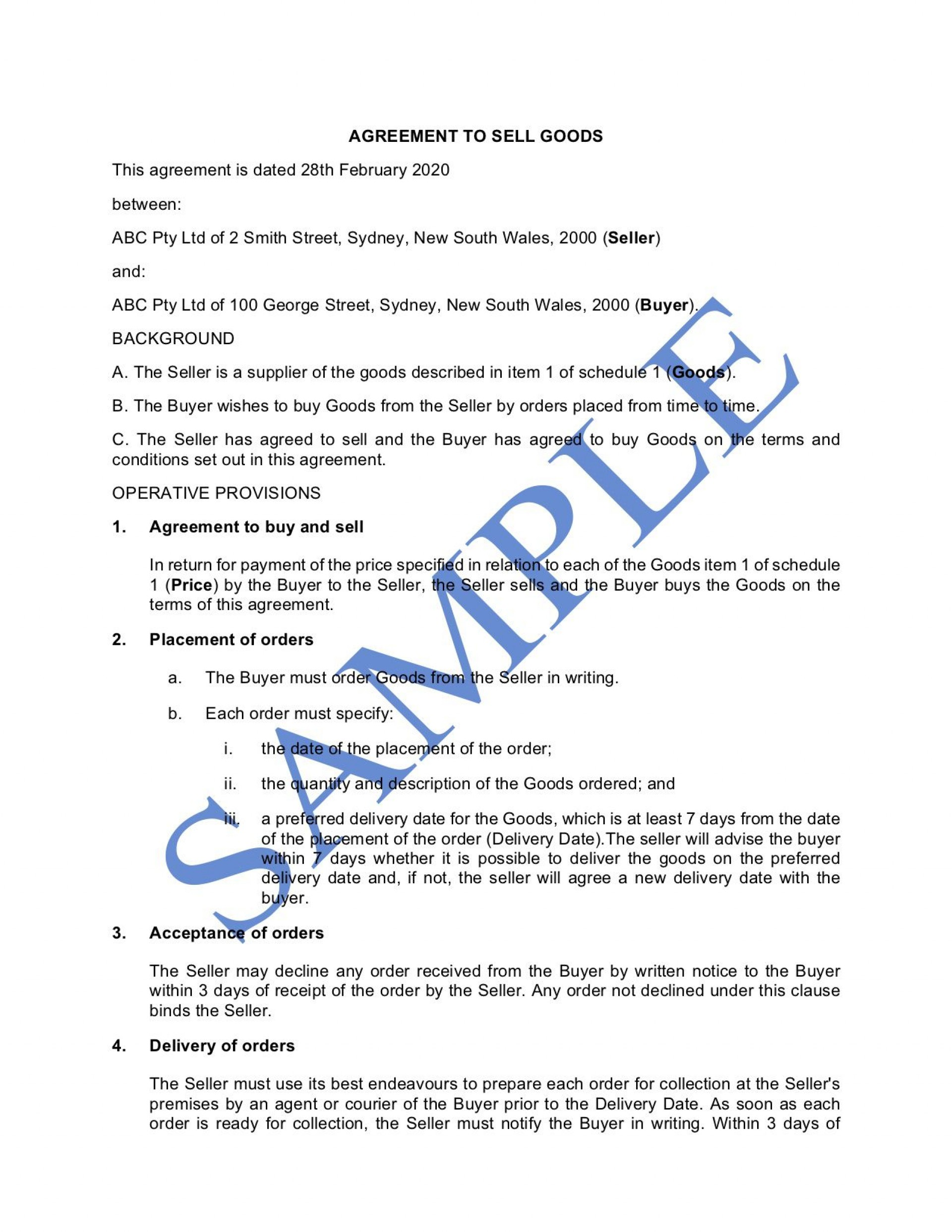 010 Rare Sale Agreement Template Australia Concept  Busines Horse Car Contract1920