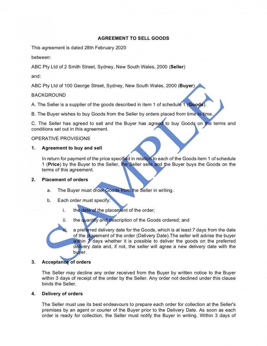 010 Rare Sale Agreement Template Australia Concept  Busines Car Boat Contract