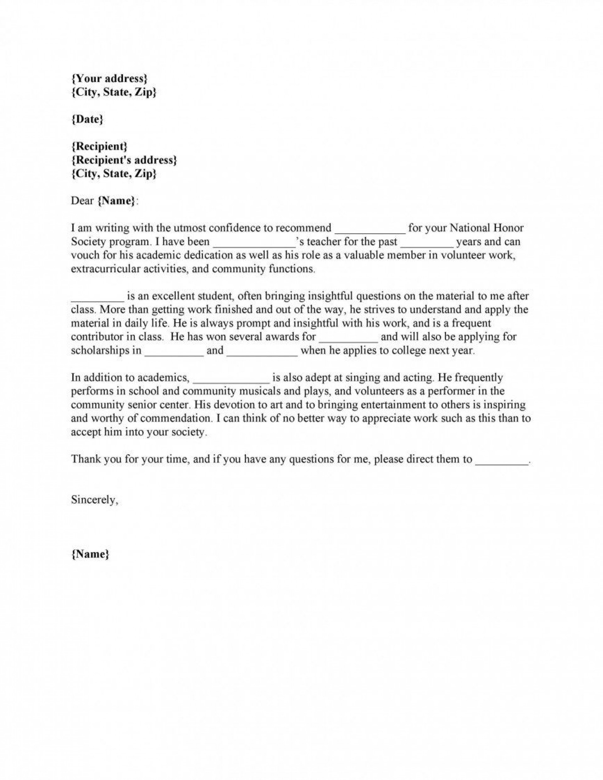 010 Remarkable Letter Of Recommendation Template For College Student High Resolution  Sample From Professor1920