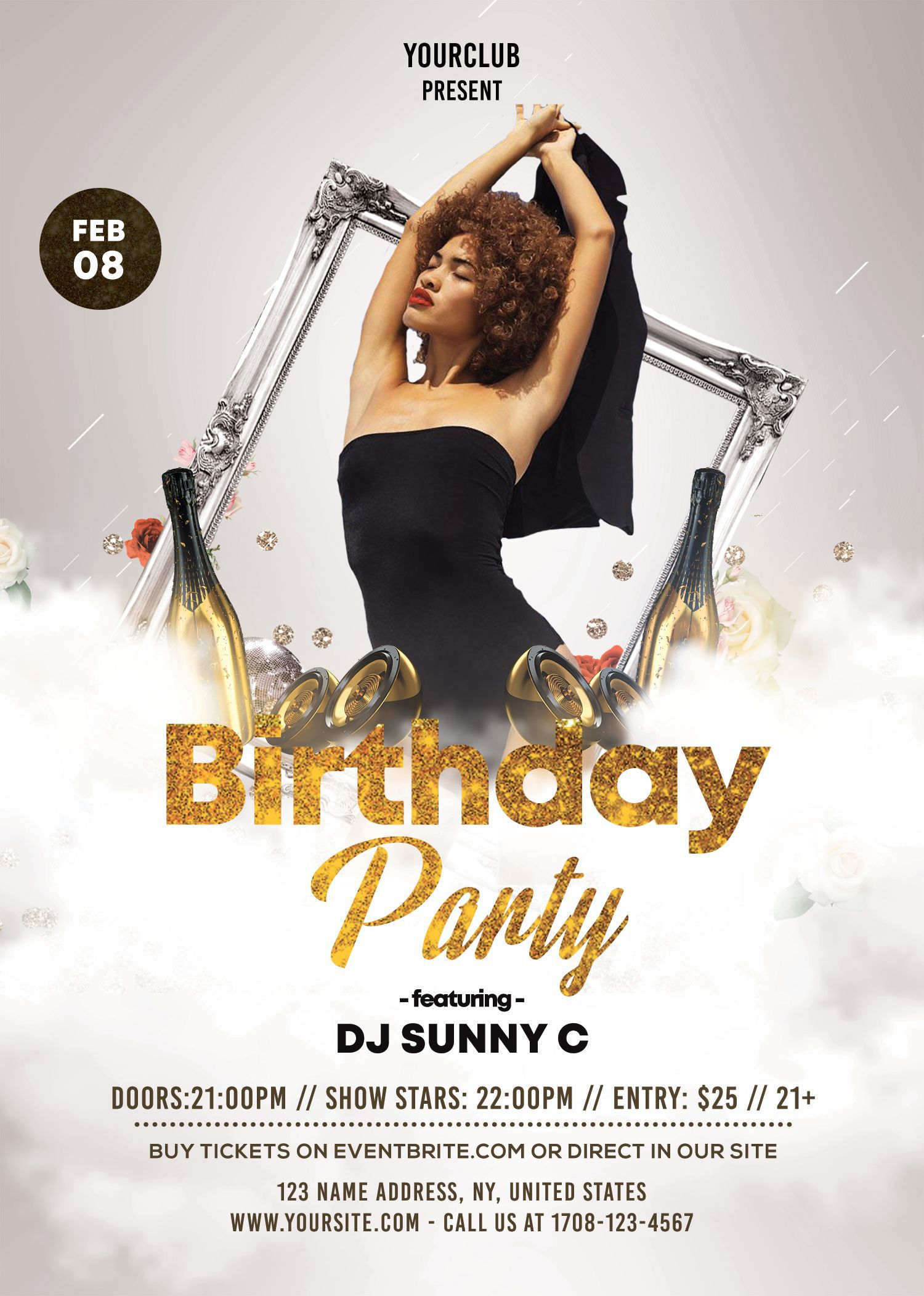 010 Sensational Birthday Flyer Template Psd Free Download Example Full