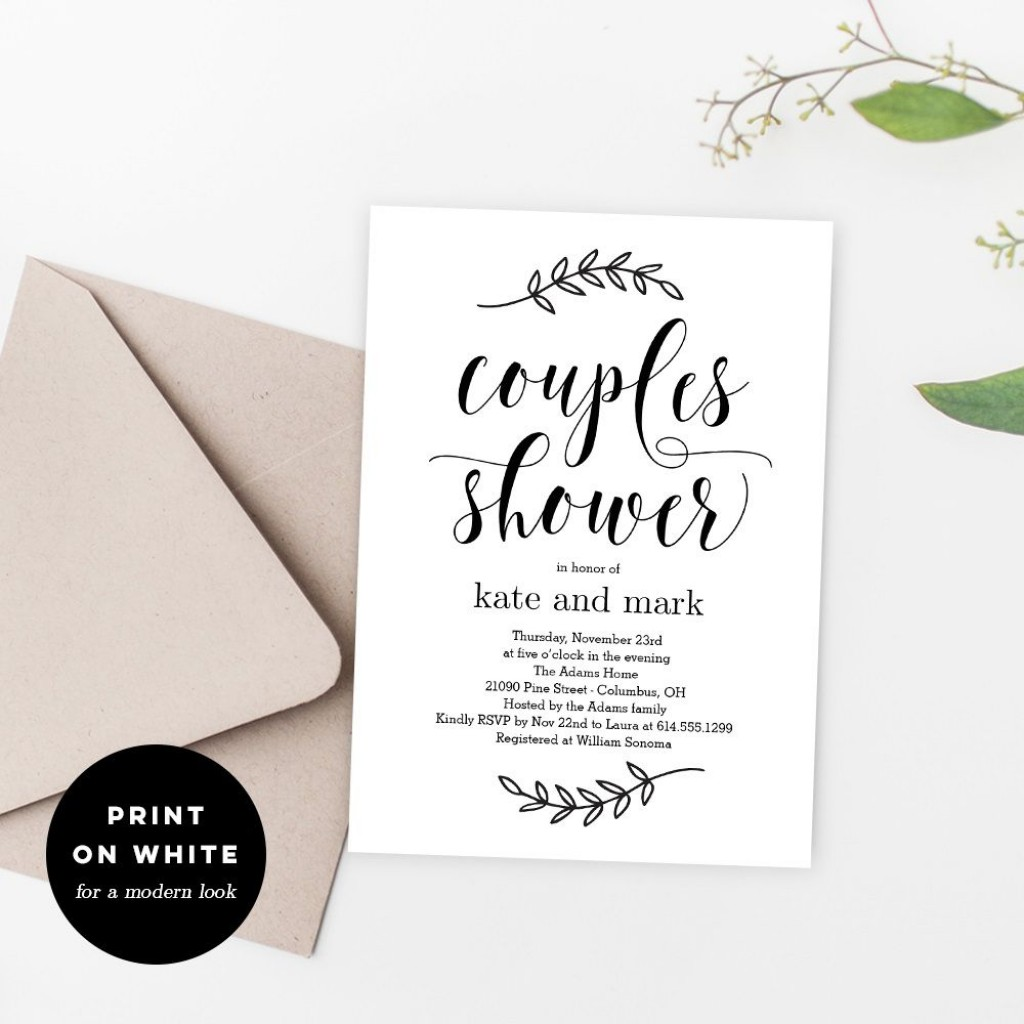 010 Sensational Free Couple Shower Invitation Template Download Sample Large