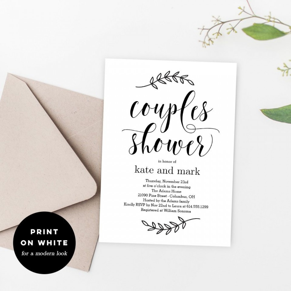 010 Sensational Free Couple Shower Invitation Template Download Sample 960