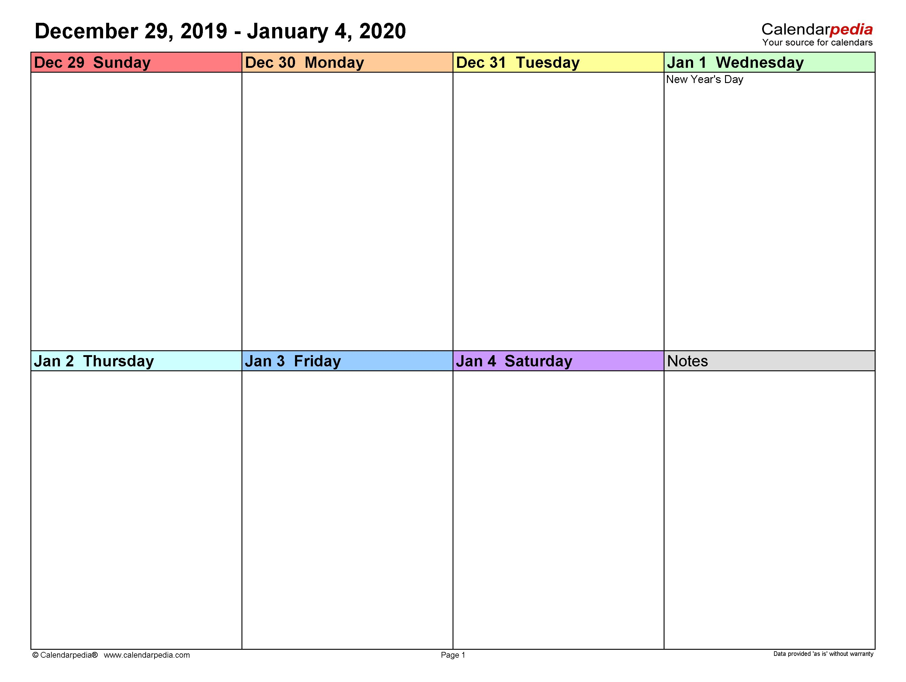 010 Sensational Free Weekly Calendar Template Example  Printable With Time Slot 2019 WordFull