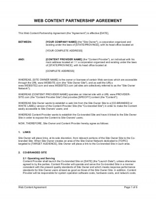010 Shocking Busines Partnership Contract Template Example  Agreement Free Nz Word320