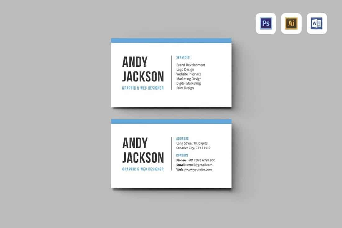 010 Simple Busines Card Template Microsoft Word High Resolution Full