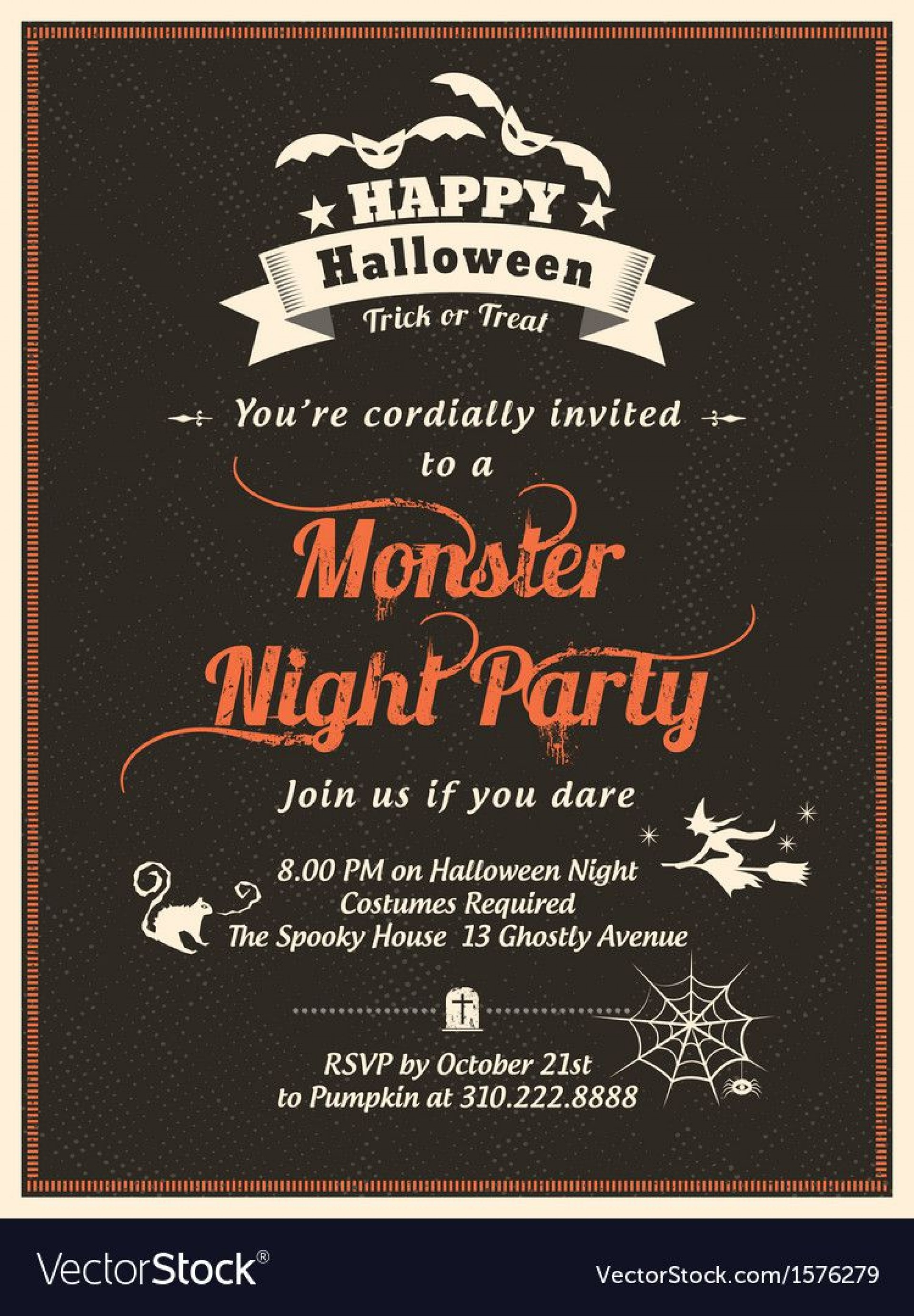 010 Staggering Halloween Party Invitation Template Inspiration  Microsoft Block October1920