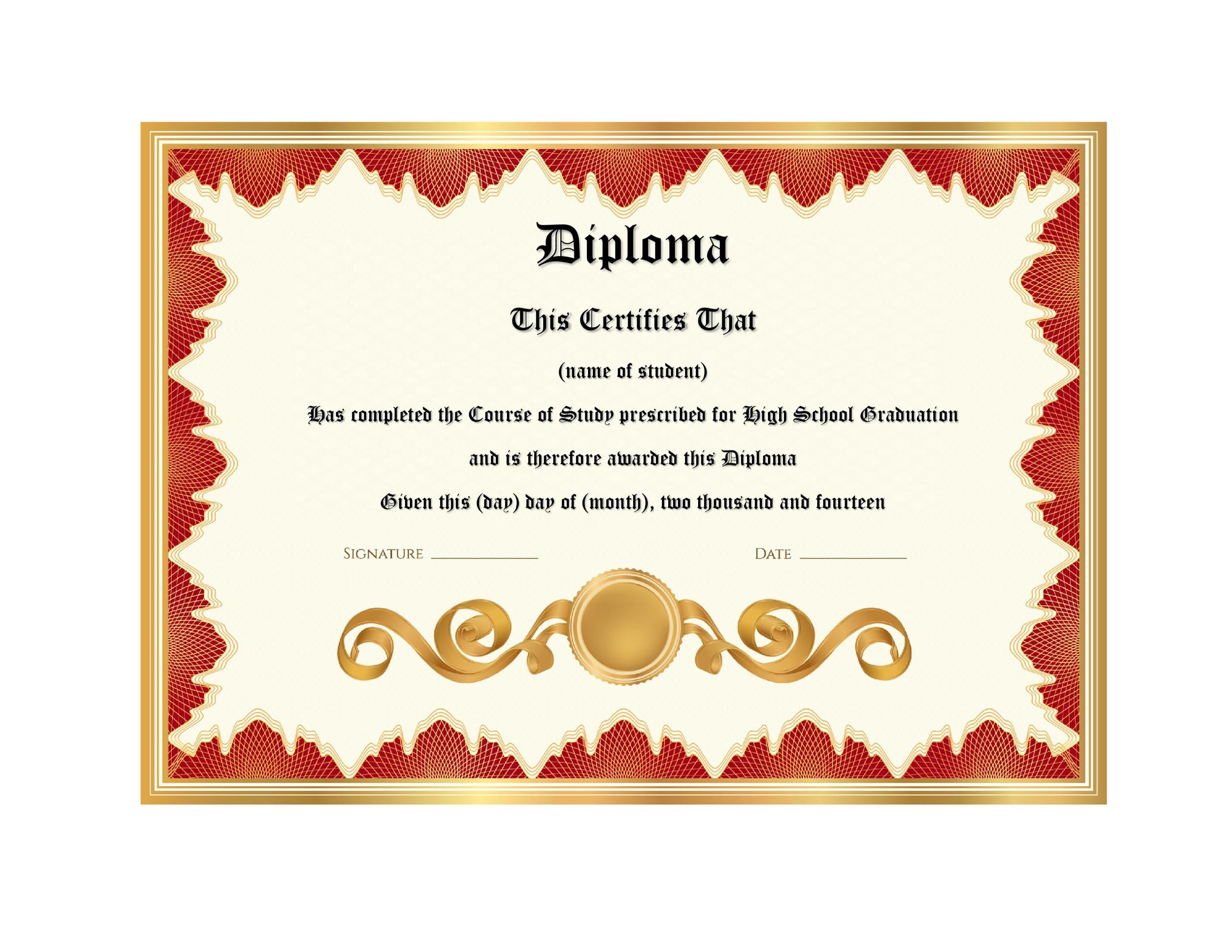 010 Stirring Free Diploma Template Download Image  Word Certificate High School AppreciationFull