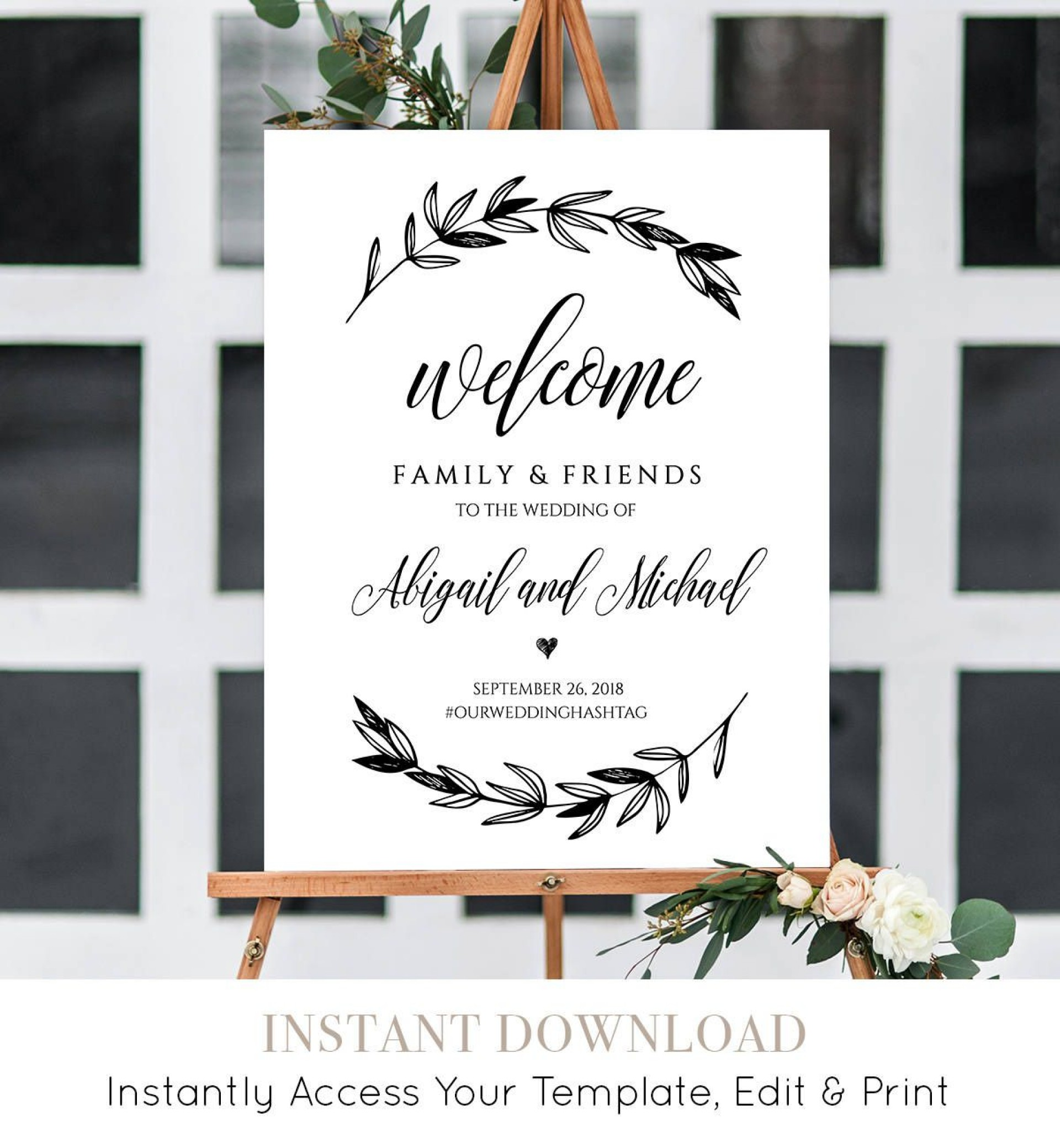 010 Striking Wedding Welcome Sign Printable Template High Def  Free1920
