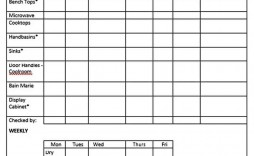 010 Striking Weekly Cleaning Schedule Form Sample  Template Restaurant Excel