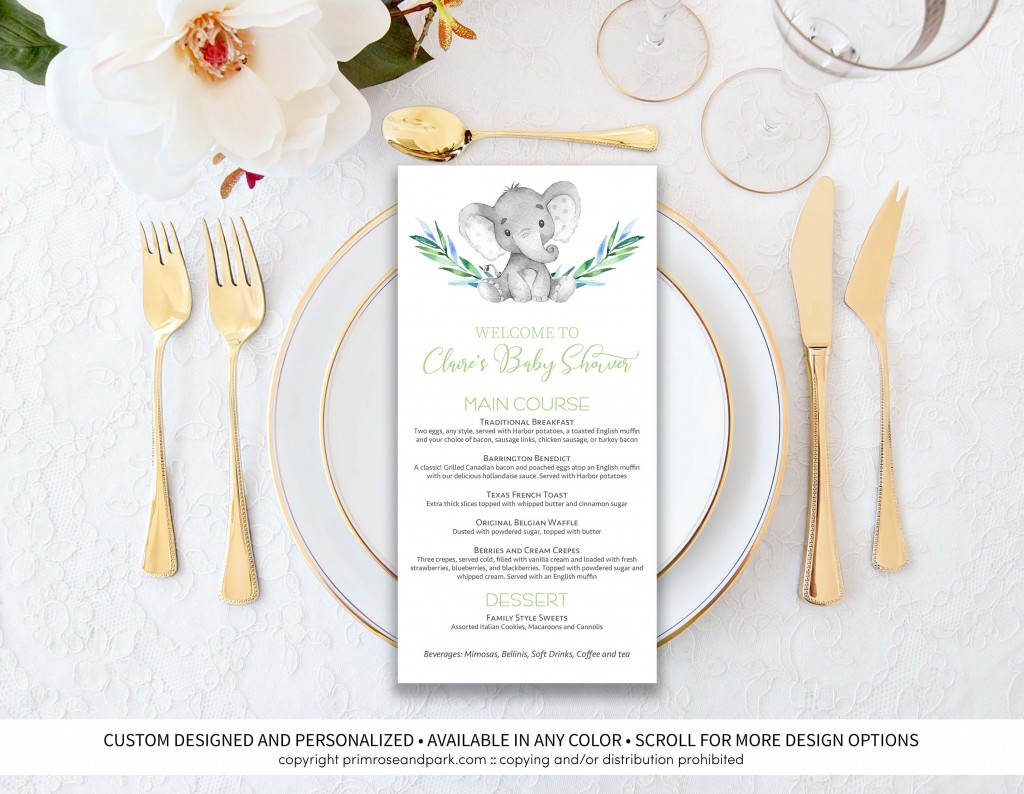010 Stunning Baby Shower Menu Template Idea  Templates Lunch Printable DownloadableLarge