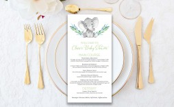 010 Stunning Baby Shower Menu Template Idea  Templates Lunch Printable Downloadable