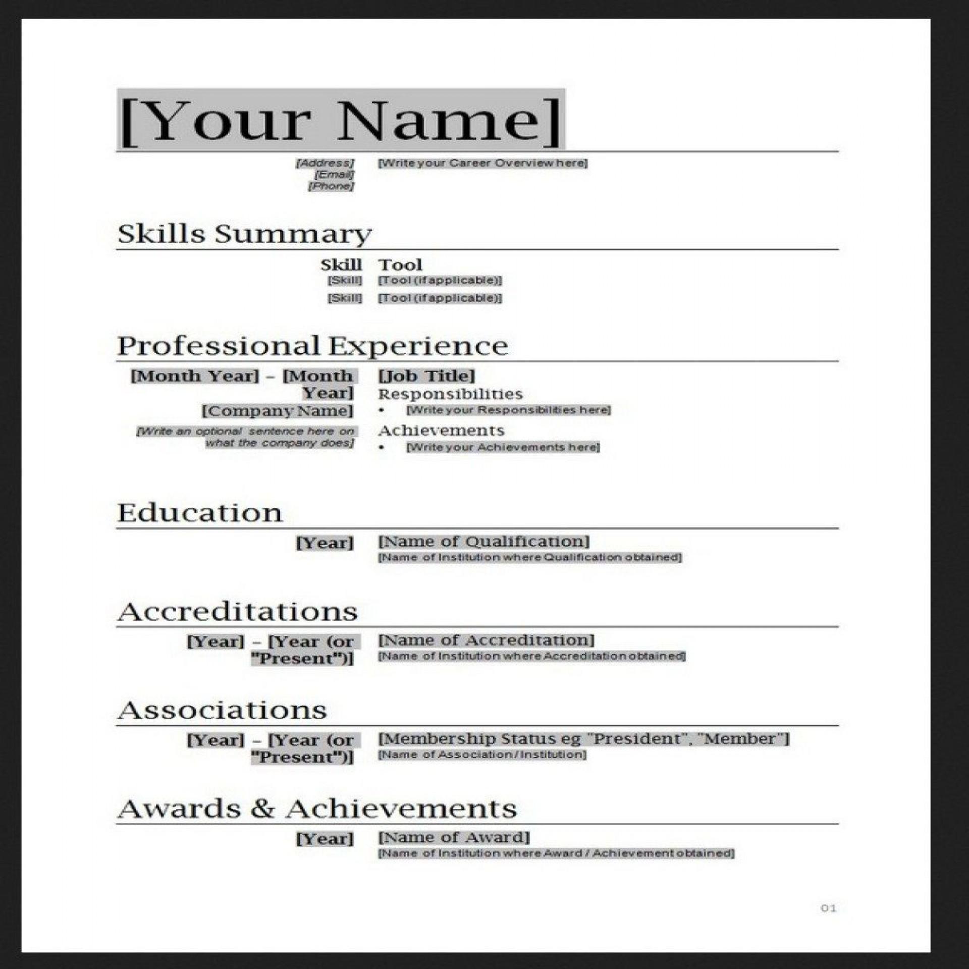 010 Stupendou Free Simple Resume Template Microsoft Word Photo 1920