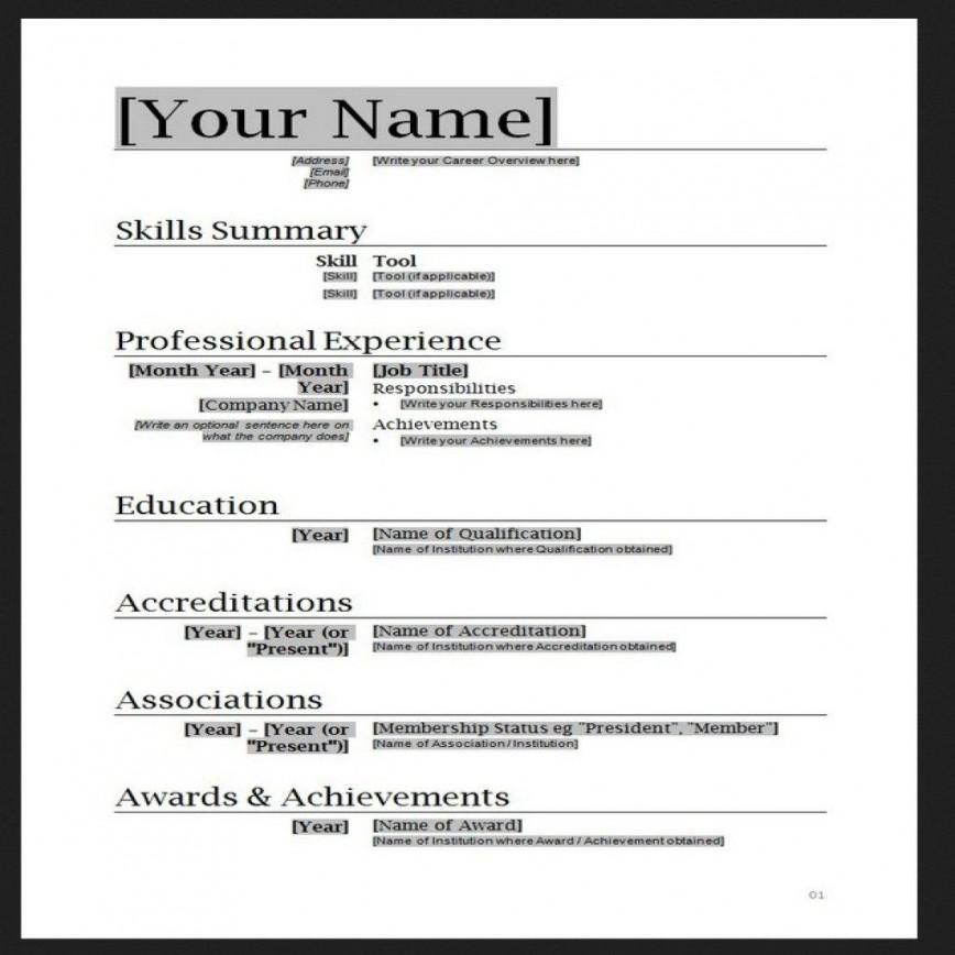 010 Stupendou Free Simple Resume Template Microsoft Word Photo 868