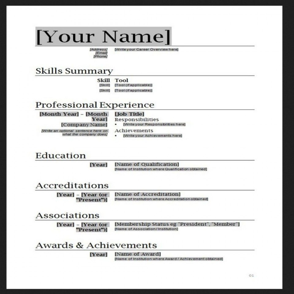 010 Stupendou Free Simple Resume Template Microsoft Word Photo 960