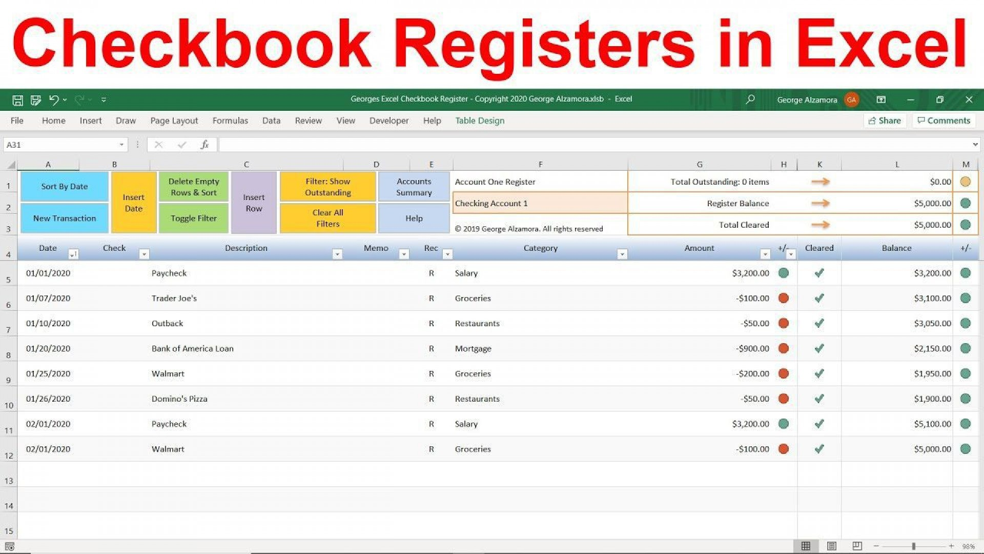 010 Top Checkbook Register Template Excel 2013 Design 1920