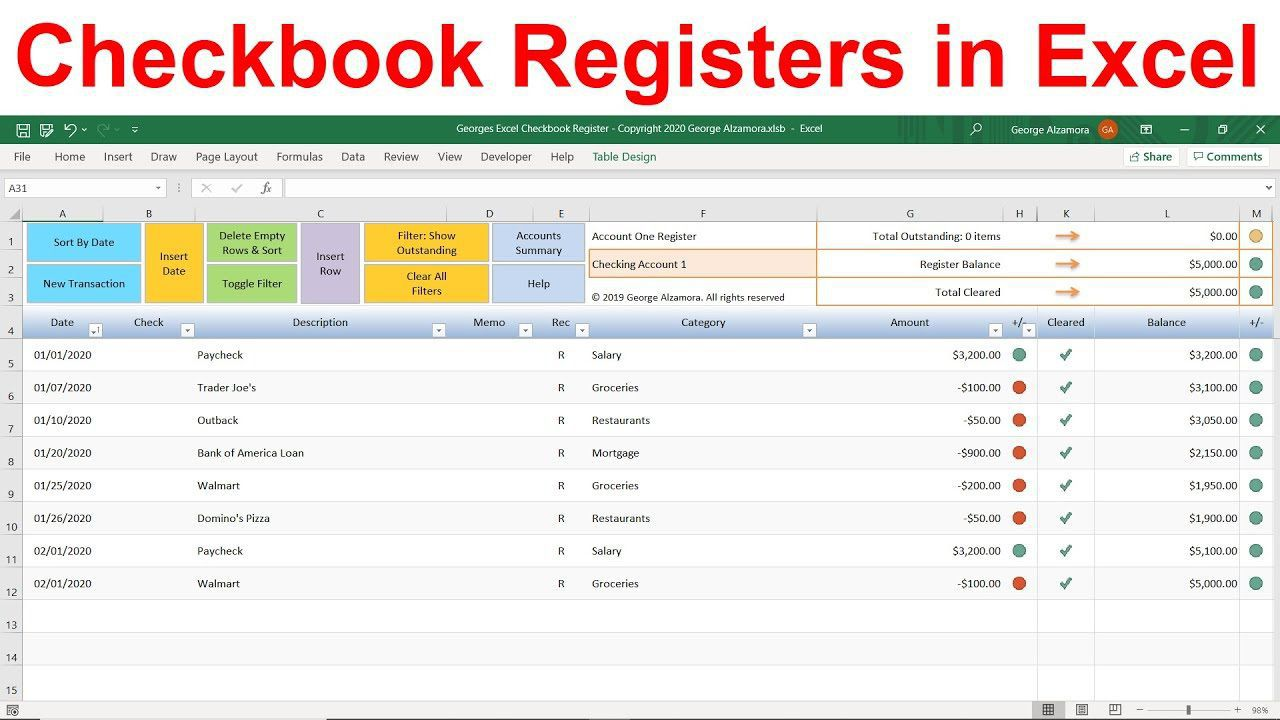 010 Top Checkbook Register Template Excel 2013 Design Full