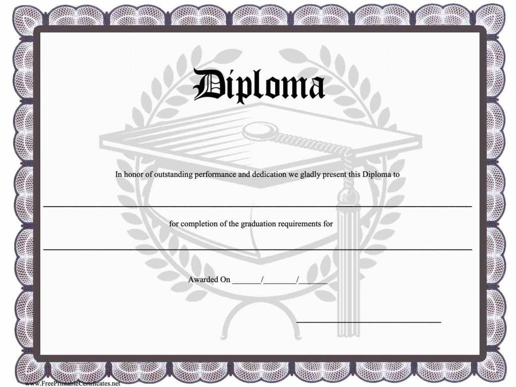 010 Top Free Printable High School Diploma Template Resolution  With SealLarge