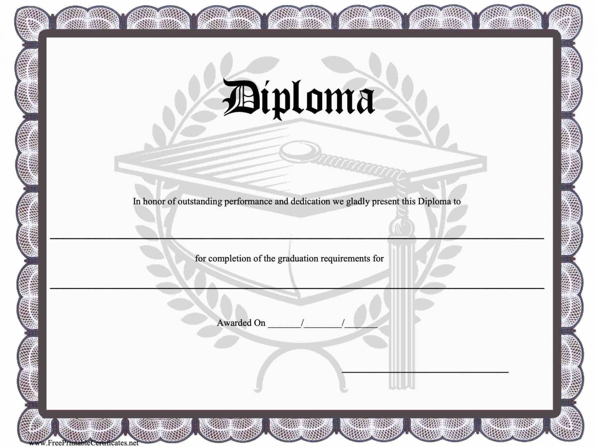 010 Top Free Printable High School Diploma Template Resolution  With Seal1920