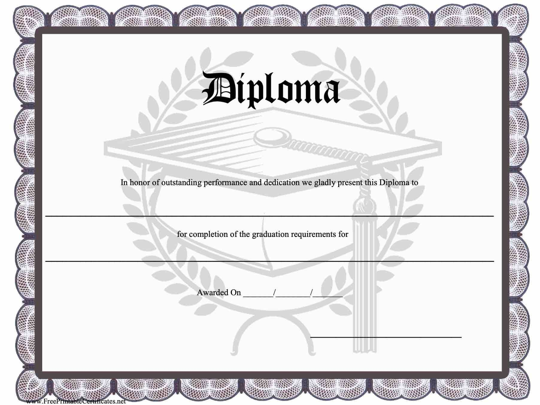 010 Top Free Printable High School Diploma Template Resolution  With SealFull
