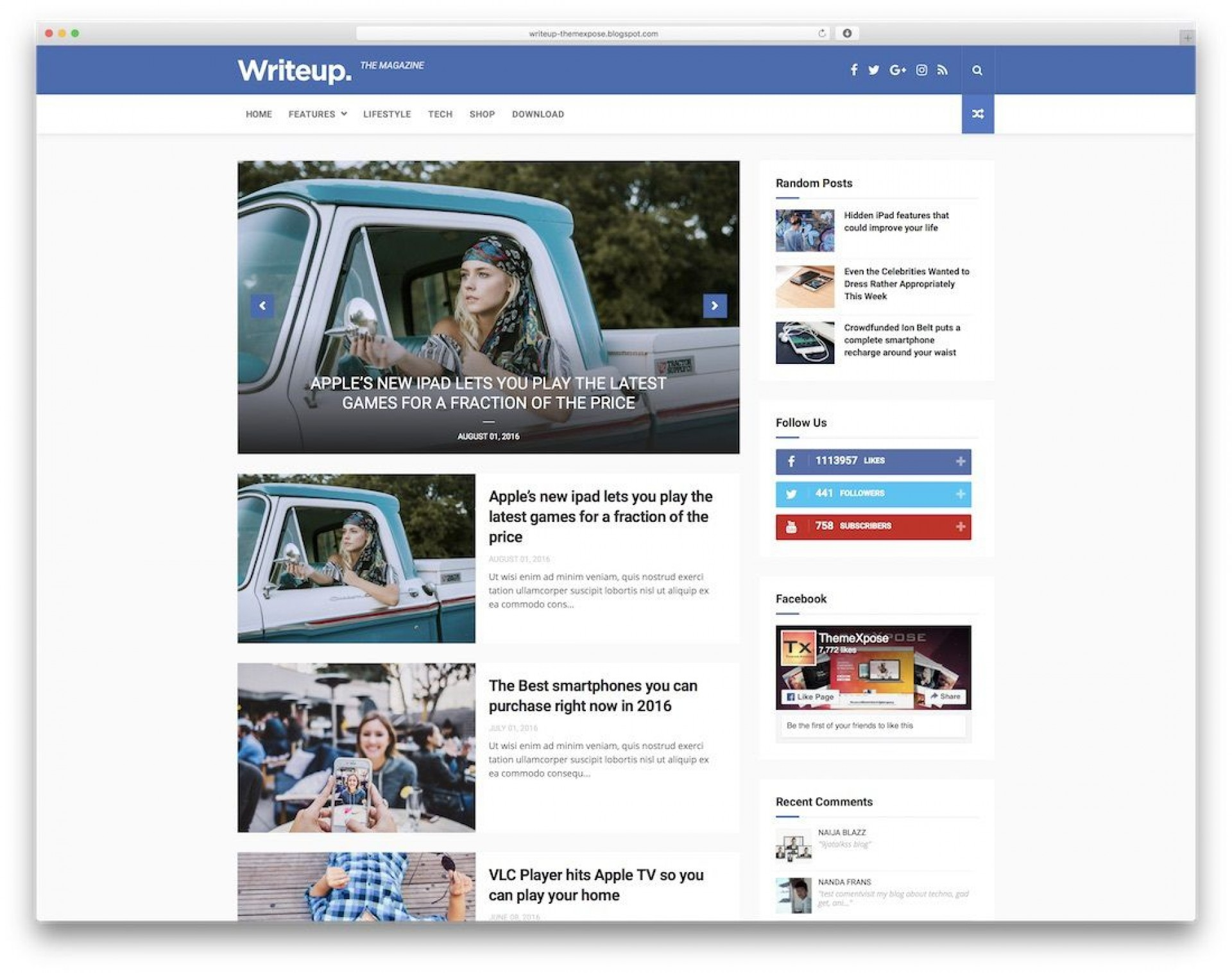 010 Top Free Responsive Blogger Template One Column Image 1920