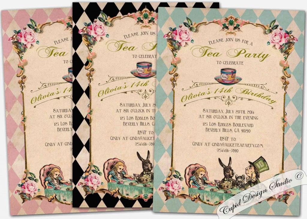 010 Unbelievable Alice In Wonderland Invite Template Design  Party Invitation FreeLarge