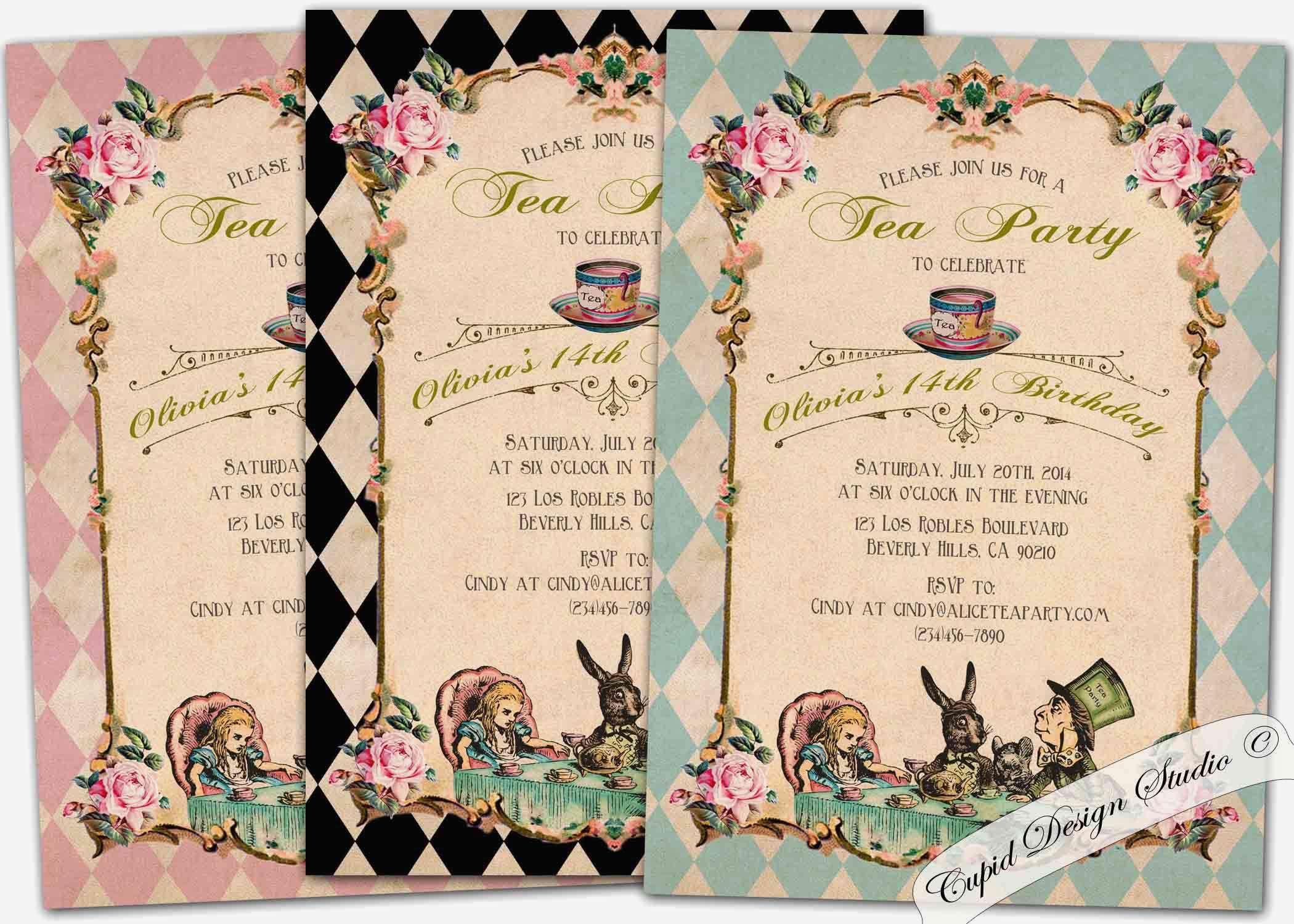 010 Unbelievable Alice In Wonderland Invite Template Design  Party Invitation FreeFull