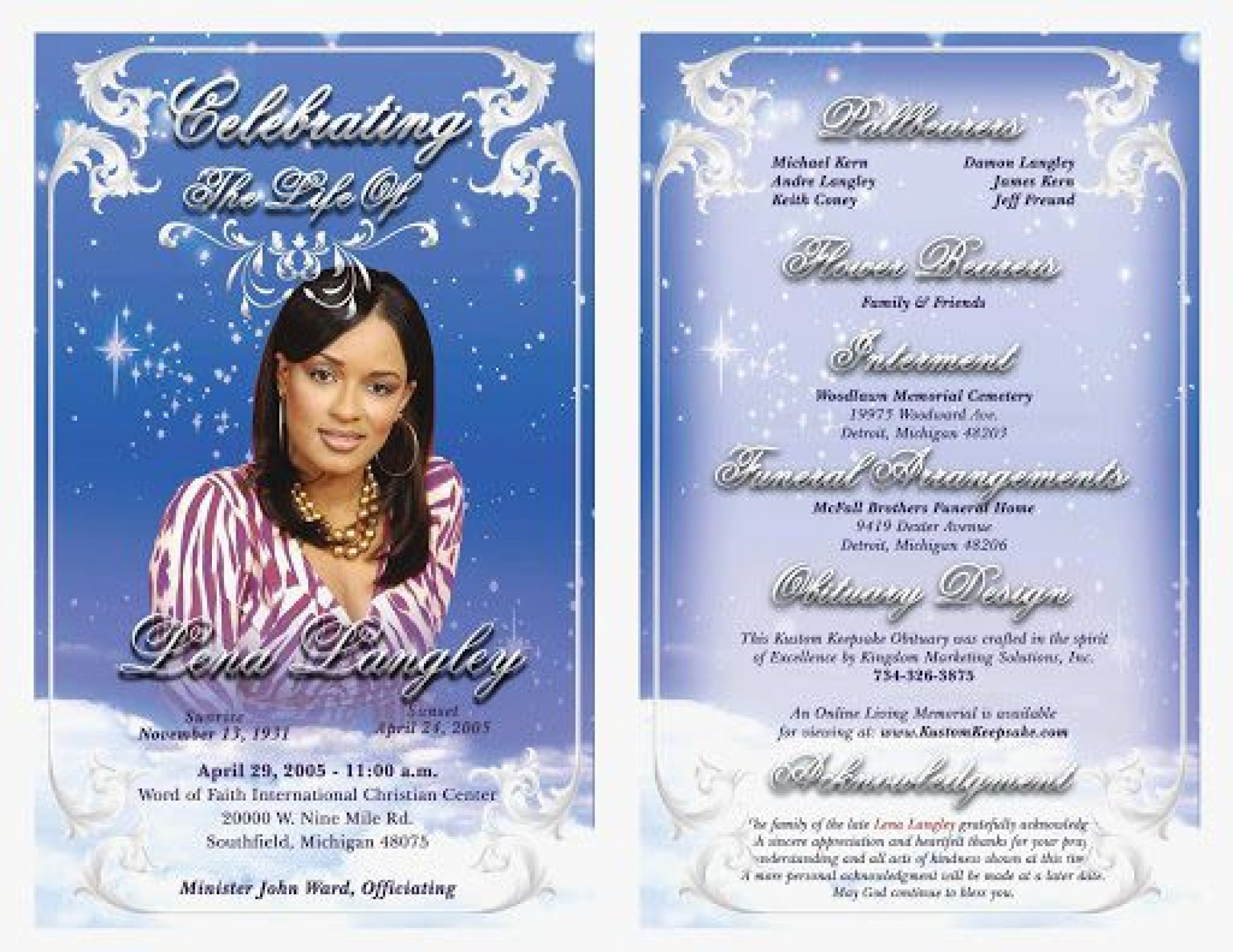 010 Unforgettable Celebration Of Life Program Template Free Highest Clarity  Editable Word1920