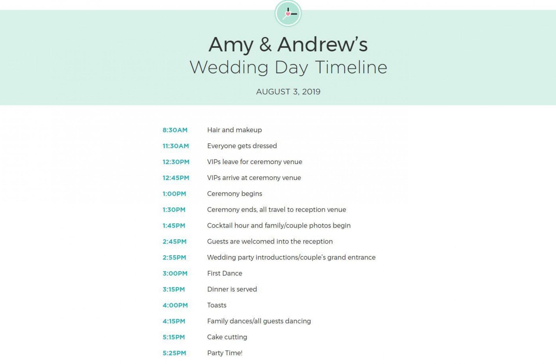 010 Unforgettable Wedding Timeline Template Free Download Sample 1920