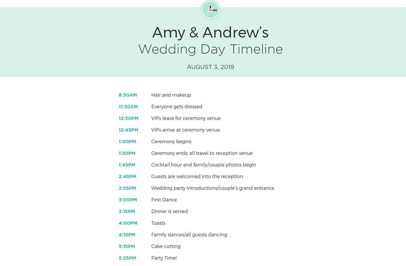 010 Unforgettable Wedding Timeline Template Free Download Sample Full