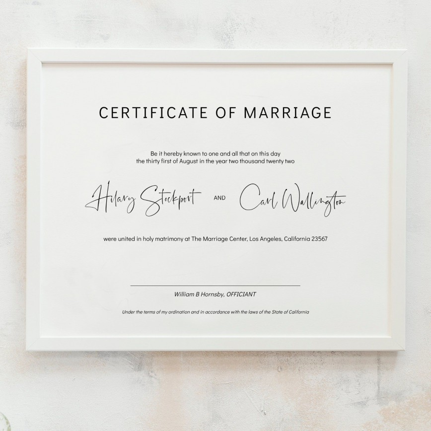 010 Unique Free Marriage Certificate Template Idea  Wedding Download Fillable