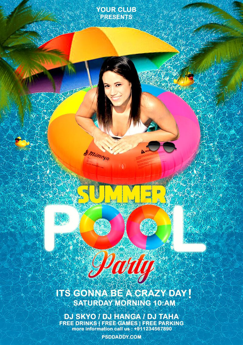 010 Unique Free Pool Party Flyer Template Psd Idea  PhotoshopFull