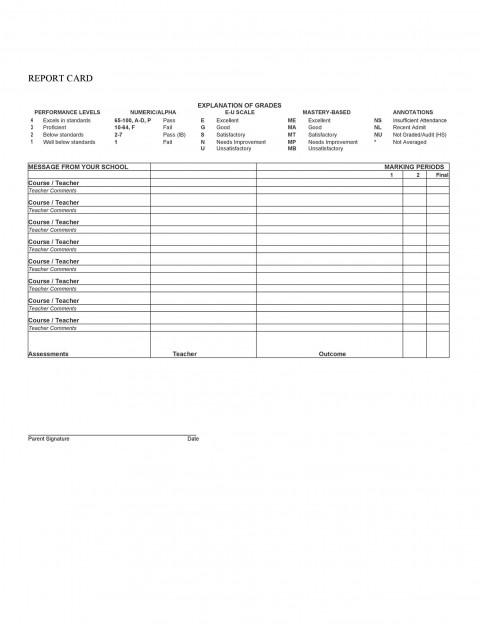 010 Unique Middle School Report Card Template Pdf High Definition 480