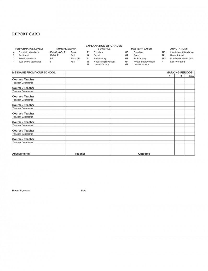 010 Unique Middle School Report Card Template Pdf High Definition 868
