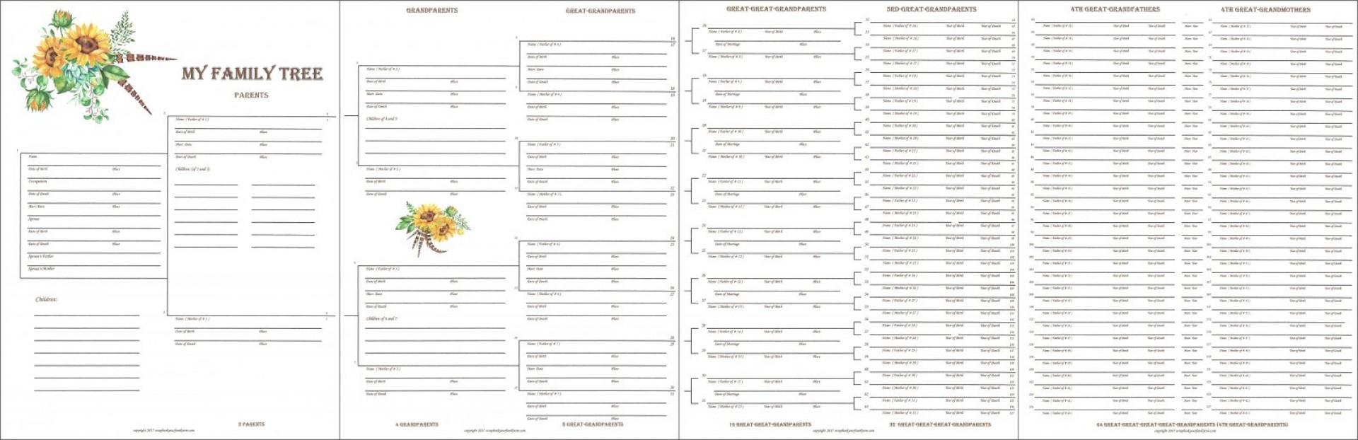 010 Unusual 7 Generation Family Tree Template Design  Blank Free Editable1920