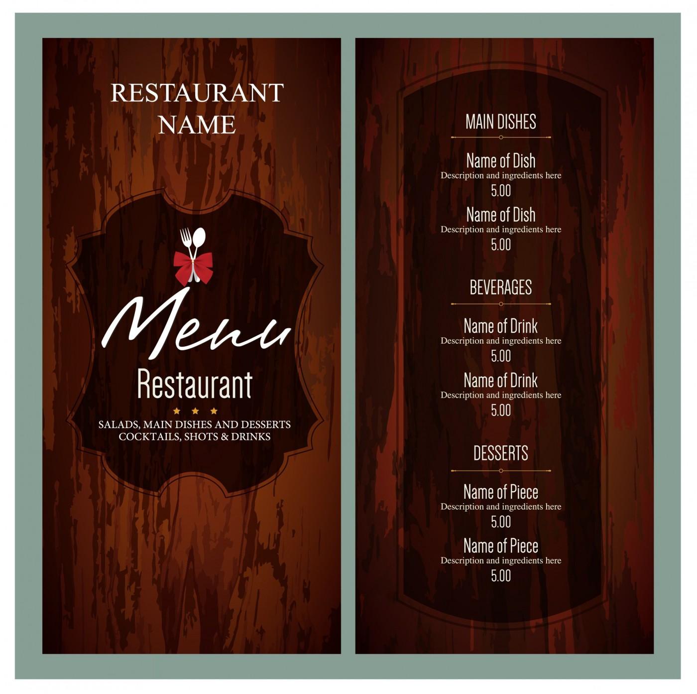 010 Unusual Free Menu Template Download High Resolution  Beauty Parlour Card Html Design Restaurant1400