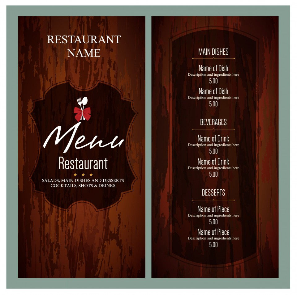 010 Unusual Free Menu Template Download High Resolution  Beauty Parlour Card Html Design Restaurant960