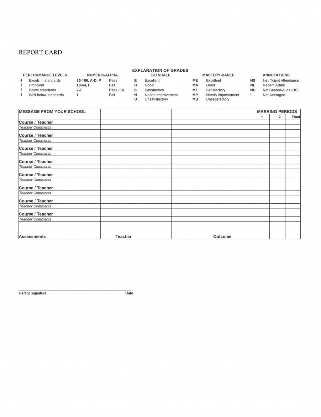010 Unusual Middle School Report Card Template Inspiration  Pdf Homeschool Free Standard Based SampleLarge