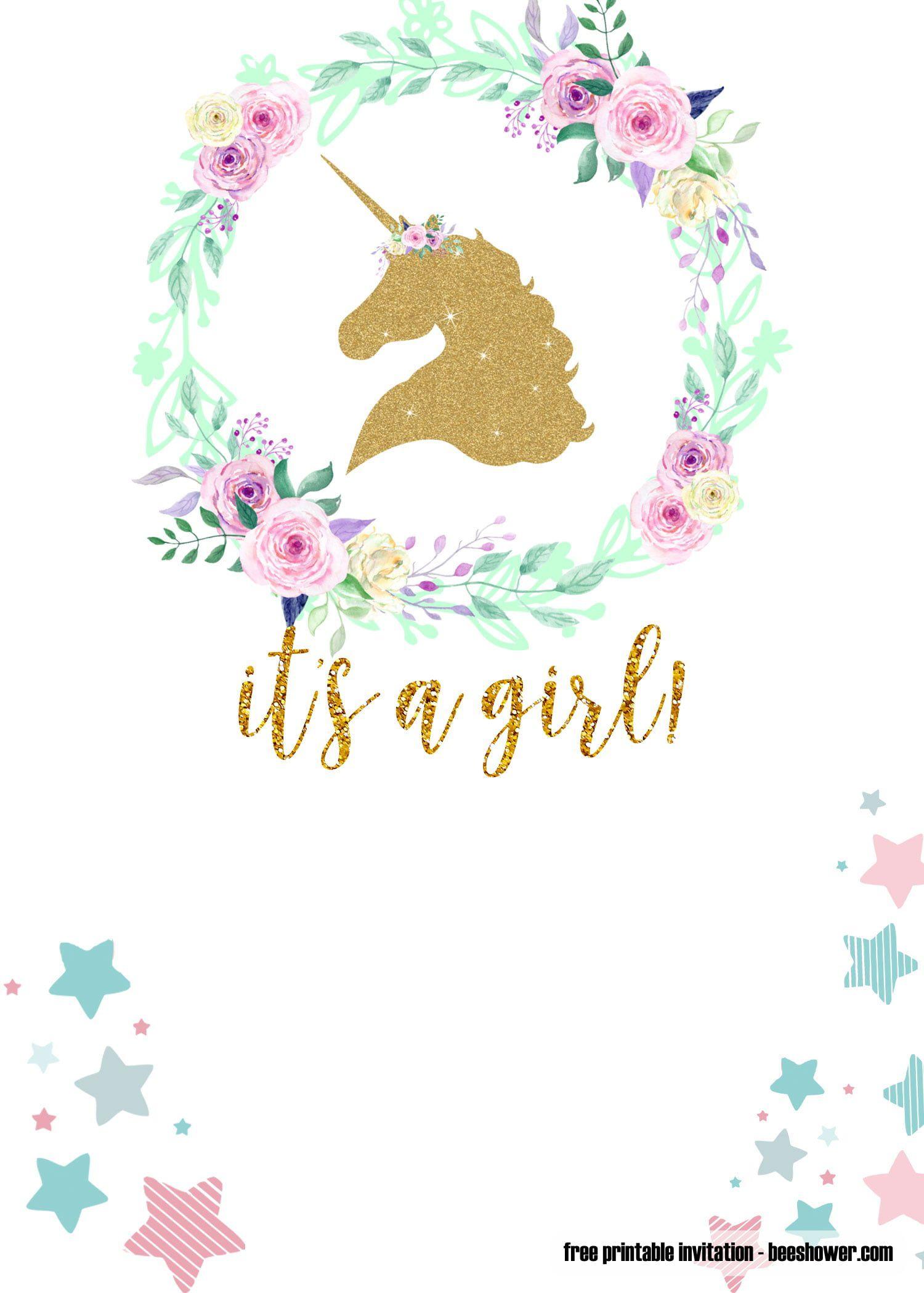 010 Unusual Unicorn Baby Shower Template Free Download Photo  Printable InvitationFull