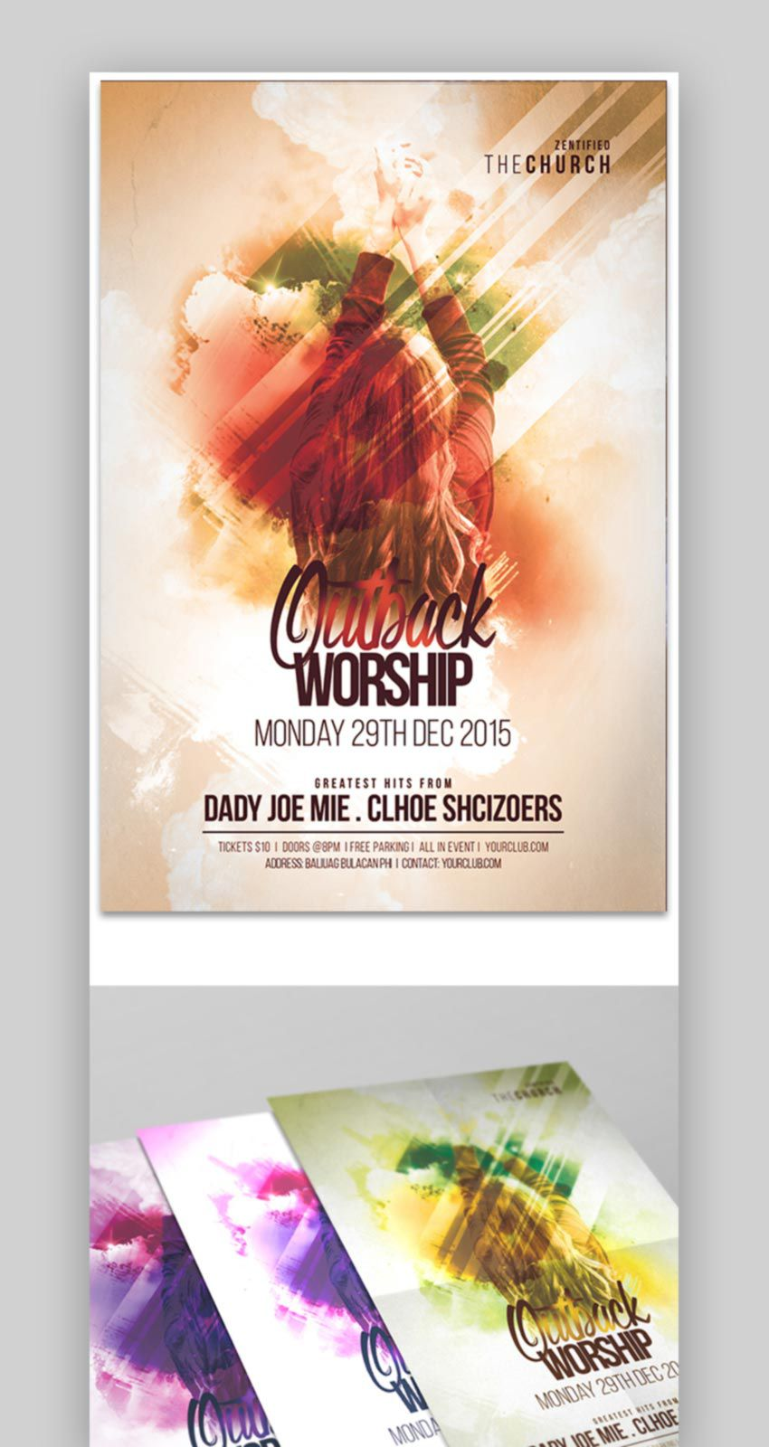 010 Wonderful Church Flyer Template Free Inspiration  Easter Anniversary Conference PsdFull