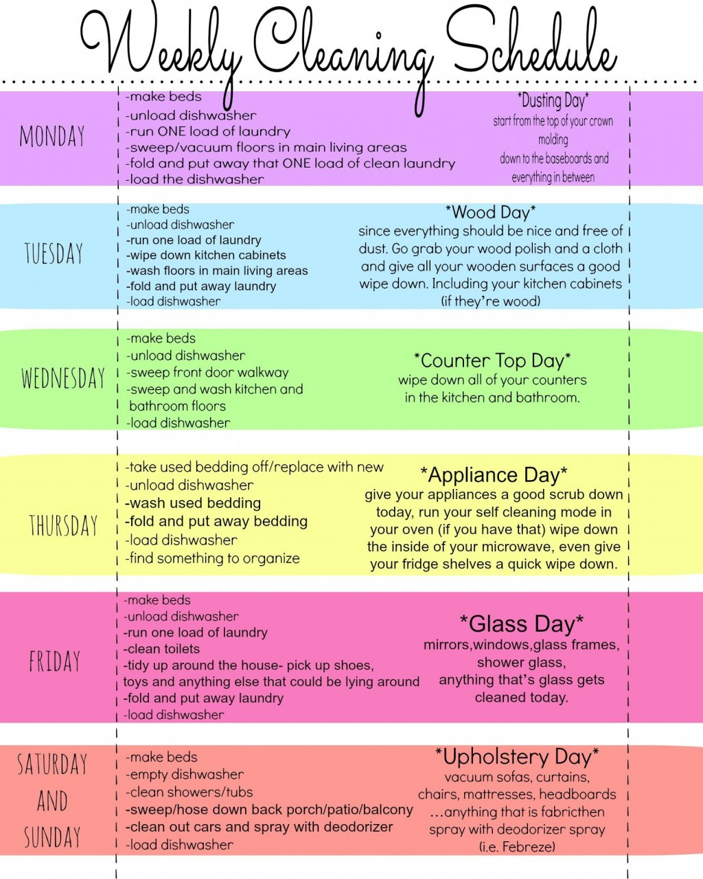 010 Wonderful Free Printable Weekly Cleaning Schedule Template High Definition  OfficeLarge