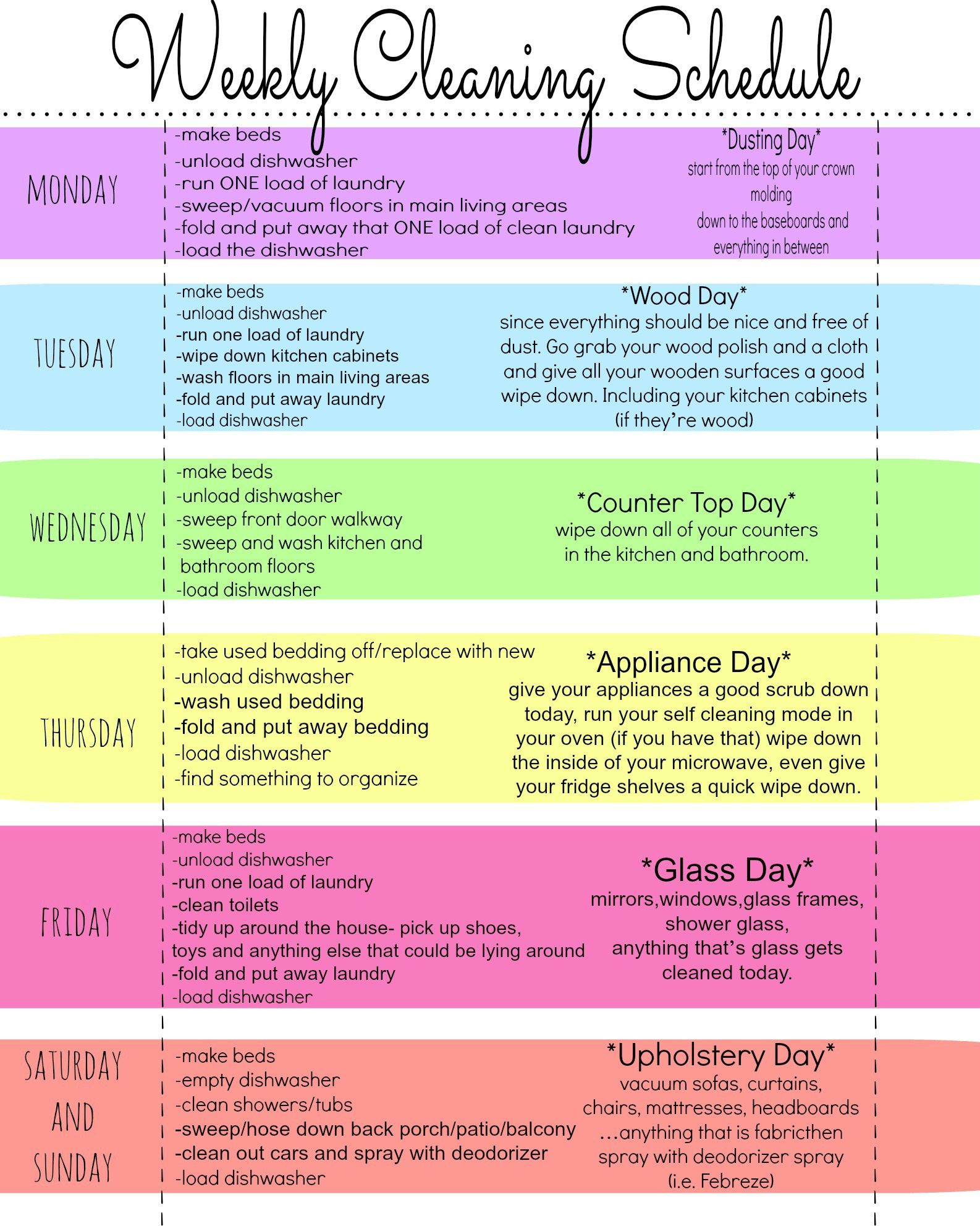 010 Wonderful Free Printable Weekly Cleaning Schedule Template High Definition  OfficeFull
